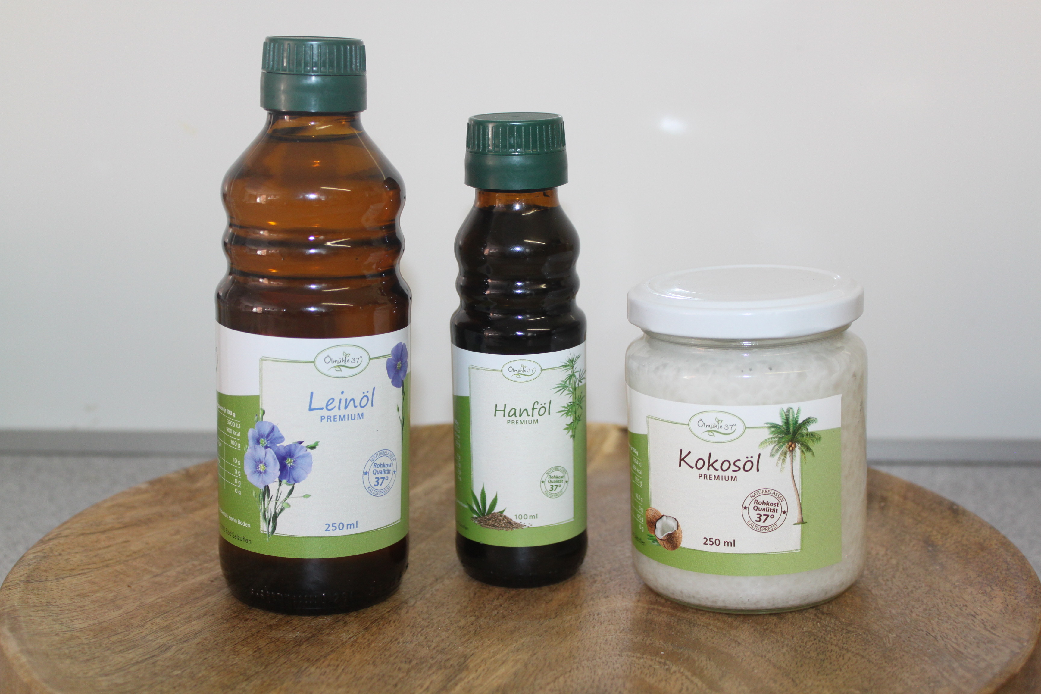 Vorteilspaket: Leinöl 500ml / Hanföl 250ml / Kokosöl 250ml