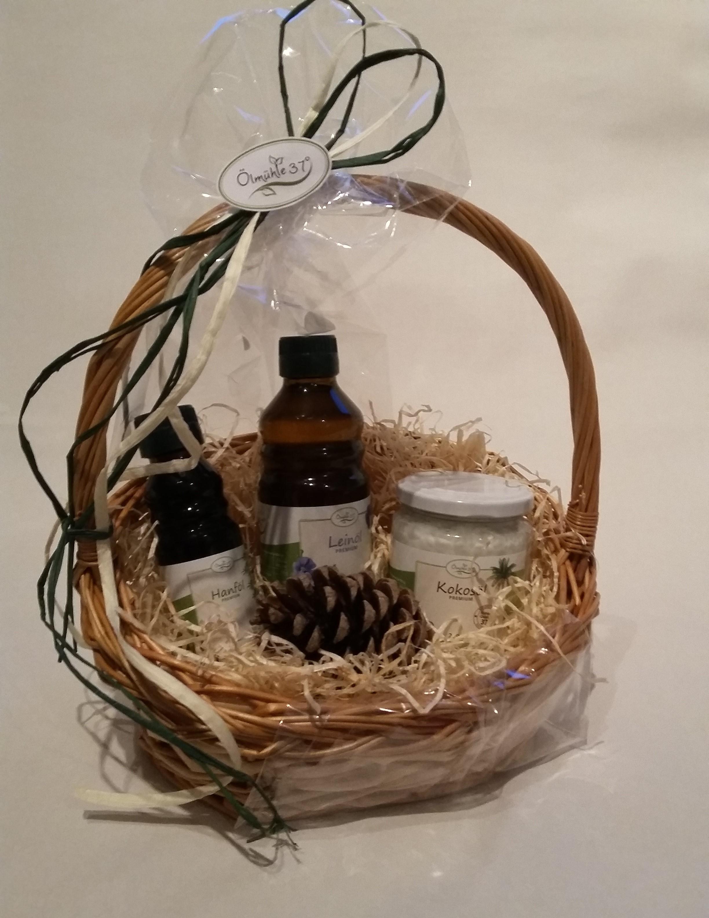 Geschenkpaket Öle (Leinöl 250ml / Hanföl 100ml / Kokosöl 250ml)