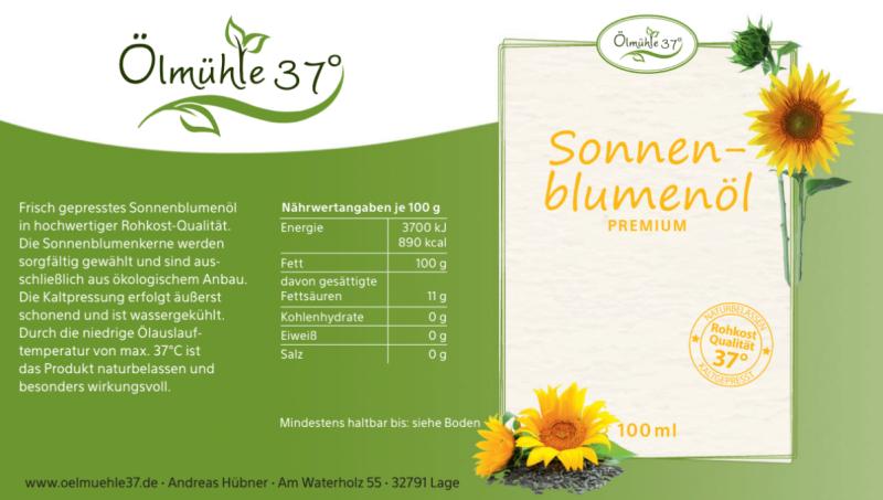Bio Sonnenblumenöl kaltgepresst (Rohkost)