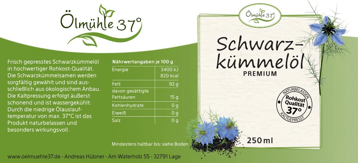 Bio Schwarzkümmelöl kaltgepresst (Rohkost) - 250ml